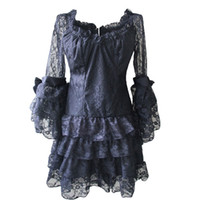 Compra Dettagli Del Club-Vestitino gotico Nero Ruffle Pizzo Lolita Style Long End Corsetto Camicia Top Top / Mini Vestito con Pizzo Arco Dettagli Victorian Dress Corset