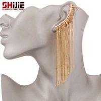 Wholesale Cuffed Earings Pierced - Lovely ear cuff clip on earrings without piercing gold silver plated earrings for women long tassel earings fashion jewelry gift
