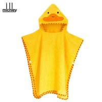 Wholesale Clothing Dhgate - dhgate New Arrival Baby Towels Bath Towel Cartoon Duck Protect Lovely Hooded Towel For Babies Cloak Yellow clothes YE0012