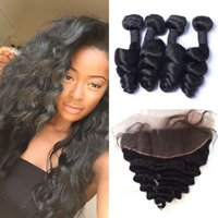 Wholesale Virgin Cambodian Lace Closure - Indian Human Hair Weaves With Lace Frontal Closure Virgin Unprocessed Human Hair Extensions With Frontal G-EASY