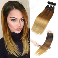 Wholesale Dye Hair Weave - T4 30 27 Ombre Human Hair 3 Bundles With Lace Closure Silky Straight Brazilian Peruvian Cambodian Indian Remy Hair Weave