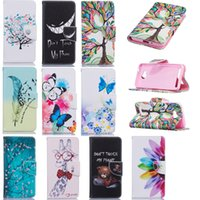 Wholesale Tree Flower Bird - Wallet Cases For Huawei Y3 II 2 Case PU Leather Tree Giraffe Feather Birds Butterfly Flowers Bear Evil Laugh with Magnetic Flip Bukle