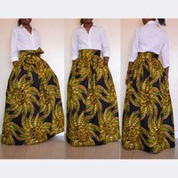 Wholesale Traditional Ethnic Dress - 2017 Traditional African Golden Maxi Vintage Bohemian Ethnic Pattern Hippie Boho Long Skirt Swing Dress Skirts