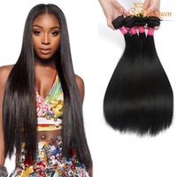 Wholesale queen soft - Gaga Queen Hair Product Brazilian Virgin Hair Straight Dyeable Peruvian Indian Malaysian Straight Remy Human Hair Extensions Soft Full 4PCS