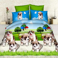 Wholesale King Doona Covers - Wholesale-2016 new 3d dogs print king queen twin size 3 4pcs bedding set of duvet doona cover bed sheet pillow cases bed linen set