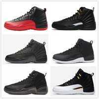Wholesale Canvas Shoes Wings - 12s Classic 12 basketball shoes ovo black nylon the master wool XII flu game wings CNY french blue wolf grey shoes