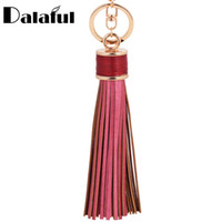 Wholesale Leather Fringe Purse Handbag - 8 Colors Tassel Fringe Pu Leather Keychain Purse Bag Buckle HandBag Pendant For Car Keyring Holder Women Jewelry K226