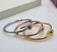 Wholesale Boutique Easter - 2017 Gold Bracelet Boutique Steel Rivets Buckle Cuff Neutral Models Master18k rose gold Bracelets & Bangles for women
