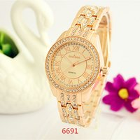 Wholesale Mens Diamond Dress Watch - 6691 Fashion Ladies Dress Diamond Watches Stainless steel Mens Luxury Brand Wristwatch Rose Gold Watch