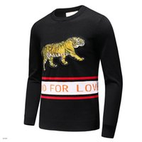 Wholesale Top Brand Wool Sweaters - 2017 new men's Black striped knit wool sweater Tiger embroidered sweatshirt Top man brand sports sweater Long-sleeved coat jacket