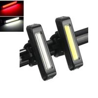 luzes de bicicleta recarregáveis usb venda por atacado-À prova d 'água Cometa USB Recarregável Cabeça de Bicicleta Luz de Alto Brilho LED Vermelho 100 lumen Dianteira / Traseira Bicicleta Luz de Segurança pacote