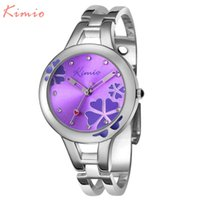 Women's Shock Resistant Round KIMIO Carving Clover Flower Womens Watches Top Brand Quartz Watch Women Dress Bracelet Watch Casual Women's Watches Wristwatch