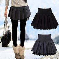 Wholesale Basic Short Skirt Bust - 2016 autumn and winter female woolen short skirt lace pleated bust skirt high waist skirt all-match basic skirts JX076