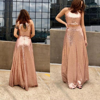 Wholesale Making Out Hot - Hot Sale 2017 Rose Gold Sequined Dresses For Prom Party Cheap Crew Cut Out Floor Length Two Pieces Prom Gowns Custom Made EN11023