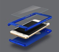 Wholesale iphone 5s glass screen protector gold for sale - Phone Case for iPhone7 plus s G s Degree Ultra thin Full Body Shell Protective Cover with Tempered Glass Screen Protector