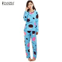 b305147abb New 2016 Autumn Women Lovely Cotton Pajamas Sets Warm Ladies Long Sleeve  Sleepwear Home Clothing Feminino Girls Nightgown M L XL