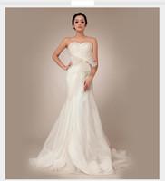 Wholesale Cheap Organza Wedding Dresses Online - White Elegant Custom Made Circelee Sexy Sweetheart Sheath Wedding Dresses Online Cheap Strapless Sweep Train Vintage Vestido De Novia Bridal