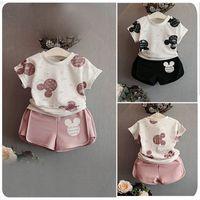 Wholesale Dolls Tutus - Girls Clothing Sets Fashion Summer Kids Clothing Sets Lovely Doll Print T-shirt+Short 2Pcs for Girls Clothes 3-7T
