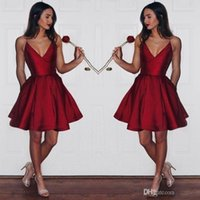 Wholesale beautiful art deco for sale - Beautiful Red Short V Neck Homecoming Dresses Simple Spaghetti Straps Pleats A Line Backless Graduation Prom Cocktail Dress for Party Wear
