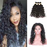 Wholesale Hot Water Hair Extensions - Hot Selling Pre Plucked 360 Lace Band Frontal With Water Wave Hair Bundle Wet And Wavy Hair Extension With 360 Frontal