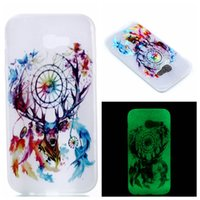 Wholesale Skin Back Cover Luminous Glow - Glow in Dark Luminous Case feather Flower Cute oil Painting skin Soft TPU Back cover For Galaxy 2017 A3 A5 A7 On5 2016 A320 A520 1pcs 5pcs