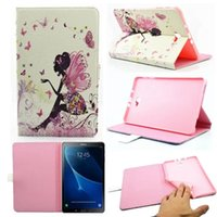 Wholesale Diamond Dust Covers - Bling Diamond Flower Girl Leather Case For Samsung Galaxy Tab A 10.1 T585 T580 T580N   P580 P585 Tinkerbell Stand Pouch Fashion Soft Cover