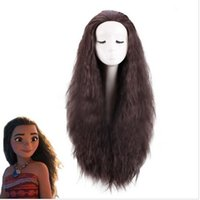 Wholesale Long Brown Curly Cosplay Wigs - New Movie Moana 75cm long wavy curly Black dark brown light brown cosplay wig Party Hair Halloween Cosplay Wig for Women +a wig cap