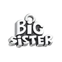 Wholesale Big Sister Silver Charm - Hottest Design Antique Silver Engraving Letters Big Sister Charm For Jewelry Gift