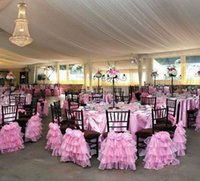 Wholesale Wholesale Flower Chair Covers - Custom Made 2017 Pink Organza 3D Flower Chair Covers Vintage Romantic Chair Sashes Beautiful Fashion Wedding Decorations 05