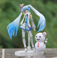 Wholesale Dolls Vocaloid Miku - Vocaloid Hatsune Miku Figma With Snowman PVC Action Figure Toy 15cm New In Box Doll Snow Miku Brinquedos Christmas Gift