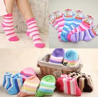 Wholesale Ladies Hosiery Wholesale - Ladies Fulffy Socks stripe Women Fuzzy Socks Winter warm Towel Candy Color Thick Floor Socks Hosiery Plush sock KKA2731