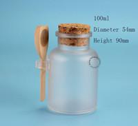 Wholesale Wooden Salt Spoons Wholesale - Wholesale- 45pcs Lot Wholesale Plastic Cosmetic Bottle 100ml Powder Bath Salt Pot with Wooden Spoon Facial Mask Refillable Container