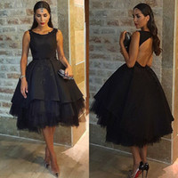Wholesale Pretty Ball Gown Prom Dresses - Black Ball Gown Tea Length Evening Dresses Pretty Appliques Beaded Jewel Neckline Cocktail Party Dress Sleeveless Hollow Evening Gowns