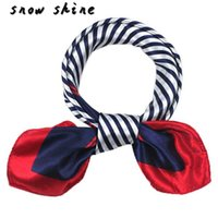 Wholesale Satin Stripe Scarves - Wholesale- snowshine #1001xin Satin Silk Square Scarf Women Four Seasons Occupation Stripe Silk Satin Scarves free shipping