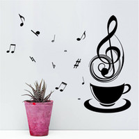 vinilo de té al por mayor-Coffee Music Note Cups Cafe Tea Pegatinas de pared Art Vinyl Decal Kitchen Restaurant Pub Decoración Mural Wallpaper Relax Mom Gift