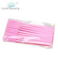 Wholesale Disposable Eyeliner Applicators - Brand New 100pcs Lot Make Up Brush Pink Synthetic Fiber One-Off Disposable Eyelash Brush Mascara Applicator Wand Brush
