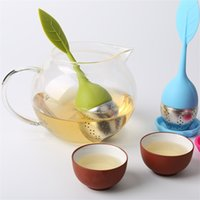 Wholesale Tea Infusers Strainers Wholesale - 8 Colors New Silicone Stainless Steel Cute Leaf Tea Strainer Herbal Spice Tea Infuser Filter leakage