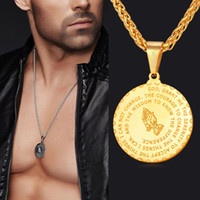 Wholesale 2017 Men Jewelry Praying Hands And Bible Verse Pendant Necklace With Wheat Chain For Men K Gold Plated Stainless Steel