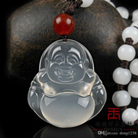 Wholesale Silver Jade Buddha Pendants - Natural home ice white jade pendant necklace cord white agate pendant with a certificate and Guanyin Buddha shipping