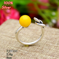 100% 925 Sterling-silver-jewelry anillo ajustable en blanco interior 8MM ajuste redondo Stone Antique Silver Clásico platin