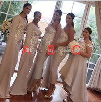 Wholesale Short One Shoulder Wedding Dresses - Arabic long sleeves bridesmaid dresses satin with lace appliques beaded A-line mermaid sheath wedding guest dresses