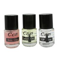Wholesale clear base coat - Wholesale-3 pcs Nutrition Clear Top Coat Base Coat Nail polish Nail Art Kit tool