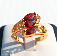 Wholesale Gold Gp Gem Ring - womens princess 14k yellow gold GP ring with clear ruby red gemstone gem three stones party jewelry