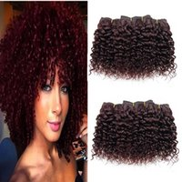 Wholesale Hair Full Head Curly Weaves - 6pcs lot Afro Kinky Curly Human Hair Extensions Weft Short Size 8 inch Brazilian 100% Human Hair Full Head Piano Color
