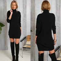Wholesale High Neck Turtlenecks - Autumn New Fashion Female Long Sweaters Dress Casual Long-sleeved High-necked Turtleneck Sexy Ladies Black Knitted Vestidos Women