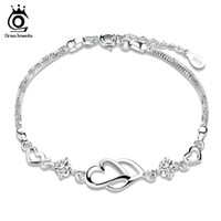 Wholesale Double Ring Chain Link - Orsa Jewelry Charm Bracelet,925 Sterling Silver Bracelet,Double Heart Charm with Austria Crystal Bracelet OB05