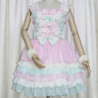 Wholesale Carnival Candy - DE Quality Customized Theme Costume Sweet Lolita Dress Plus Size Candy Colorful Style with Cute Bows Elastic Back Closure