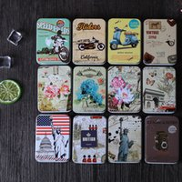 Wholesale Tin Box Cards - Metal Container Rectangle Mini Storage Boxes Multi Function Card Tin Box Motorcycle Statue Of Liberty Flower Cases Sturdy 1 1sf D