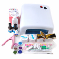 Wholesale Gel Nails Set Lamp 36w - Wholesale- 2016 full 36w white UV lamp UV Gel white Brush Tips Glue topcoat cleanser plus gel remover nail tips Kits Tools Set