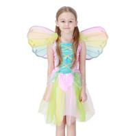 flügel für kostüme großhandel-Neue heiße Kinder feenhafte Engelsflügel Halloween-Party cosplay Kostümgröße für Kinder Regenbogenfarbe Großhandel PS043